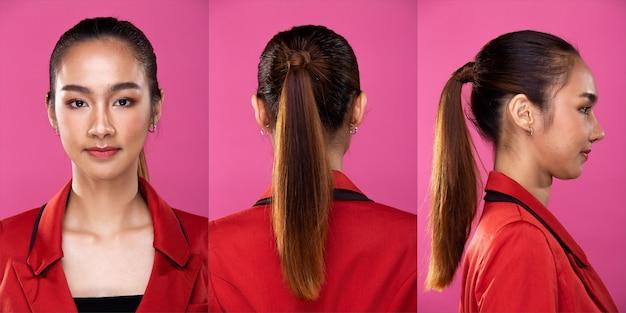 Pacote de grupo de colagem retrato de mulher de negócios asiática usar terno blazzer formal vermelho, ter uma aparência inteligente e confiante, iluminação de estúdio fundo rosa isolado, chefe do advogado fingindo sorriso olhar inteligente 360 ao redor