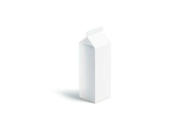 Pacote de leite grande branco em branco, vista lateral, renderização em 3d. garrafa de litro vazia com suco, isolada. limpe o pacote rex enlatado. pacote de papel para bebida
