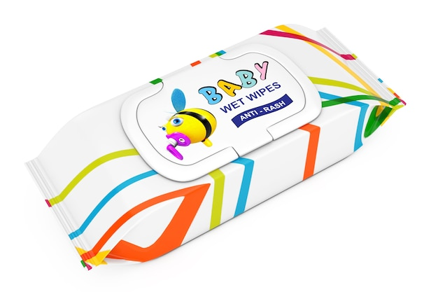 Pacote de lenços umedecidos para bebê em um fundo branco. renderização 3d