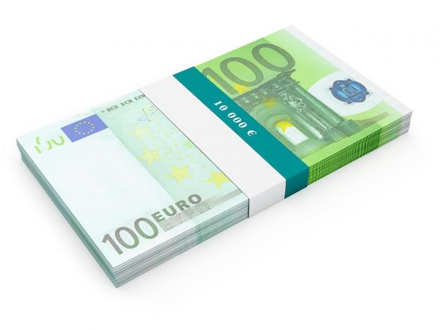 Pacote de notas de 100 notas de euro