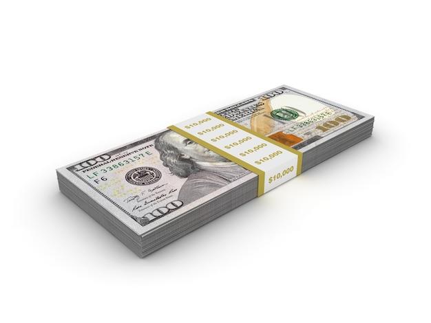 Pacote de notas de cem dólares