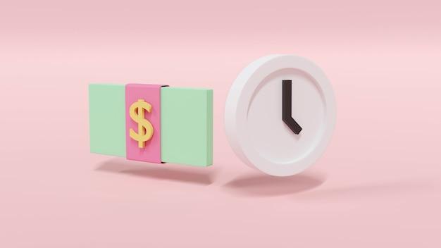 Pacote de renderização 3d de nota de dólar e um relógio no conceito pastel de dinheiro e tempo