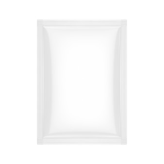 Pacote de saco em branco branco em maquete de estilo clay em um fundo branco. renderização 3d