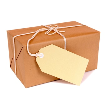 Pacote do correio com etiqueta