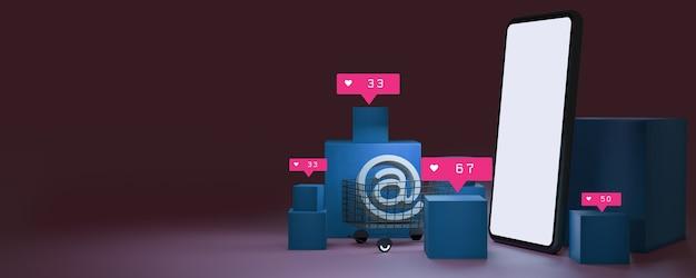 Pacote e um carrinho de compras. loja de compras online com smartphone, renderização 3d