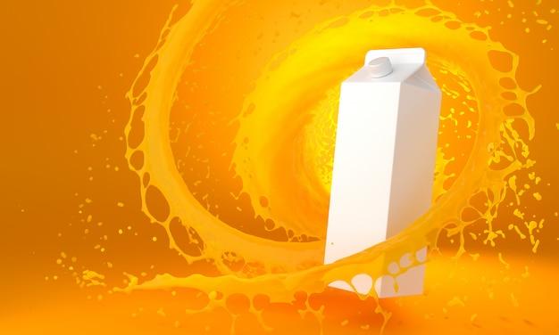 Pacote no fundo de laranja splashes_3d ilustração