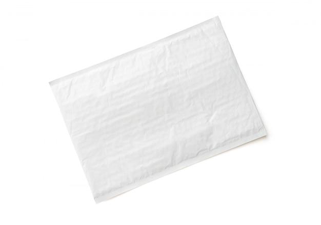 Pacote postal branco. fundo de objeto de parcela de plástico.