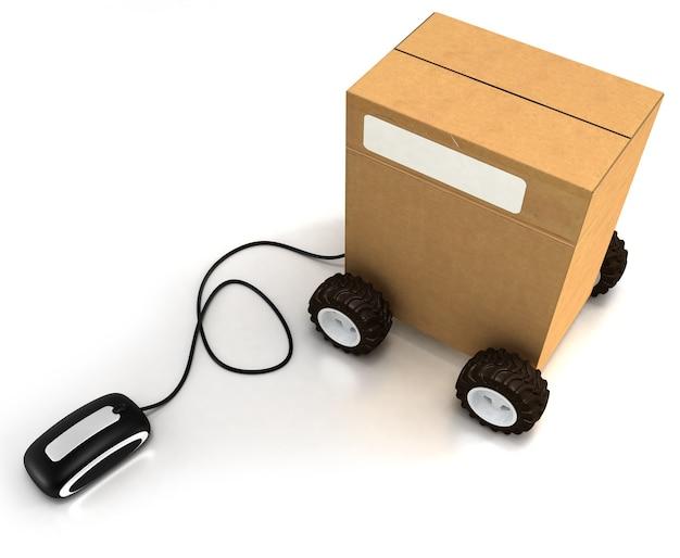 Pacote sobre rodas conectadas a um mouse