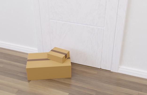 Pacotes de compras online no chão em frente a uma porta sendo entregues. renderização 3d