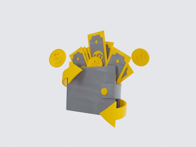 Pacotes de dinheiro e moedas flutuantes definir ícones amarelos em fundo cinza ilustração 3d render