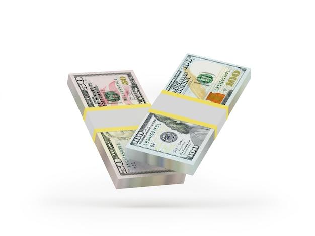 Pacotes de notas de dólar 3d