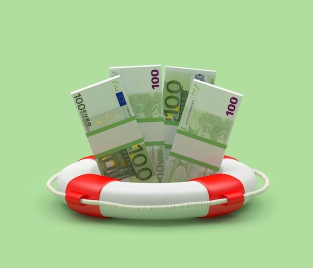 Pacotes de notas de euro em uma boia salva-vidas 3d
