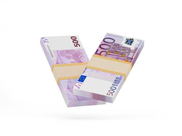 Pacotes de quinhentas notas de euro