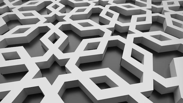Padrão 3d abstrato branco e preto