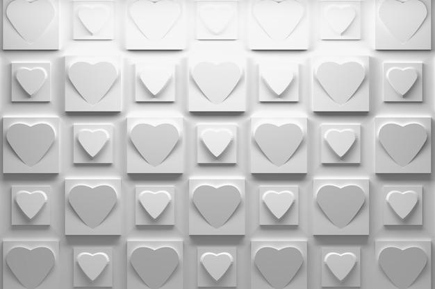 Padrão 3d branco com repetição de azulejos quadrados com corações