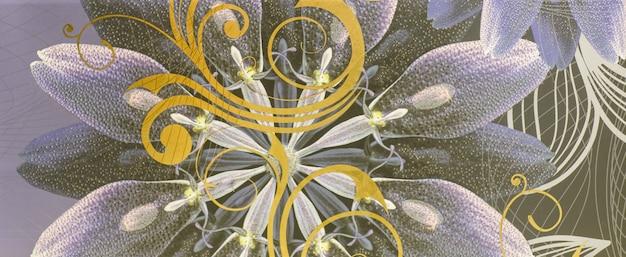 Padrão abstrato com ladrilho cerâmico decorativo de folhas ornamentais
