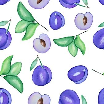 Padrão com ameixas e folhas