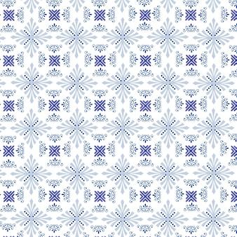 Padrão com diferentes formas ornamentais de cor azul em um fundo branco