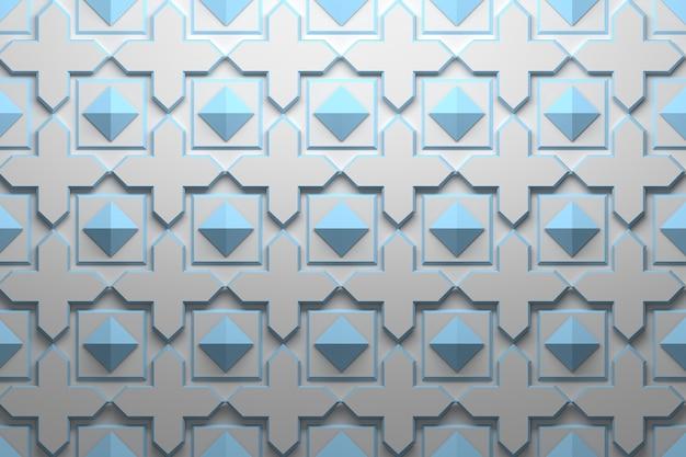 Padrão com elementos geométricos azuis repetidos