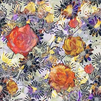 Padrão com flores coloridas
