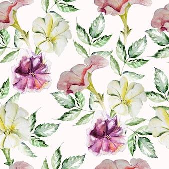Padrão com flores de petúnia em aquarela no fundo, ilustrações