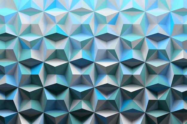 Padrão com picos de pirâmides coloridas com tons azuis aleatórios