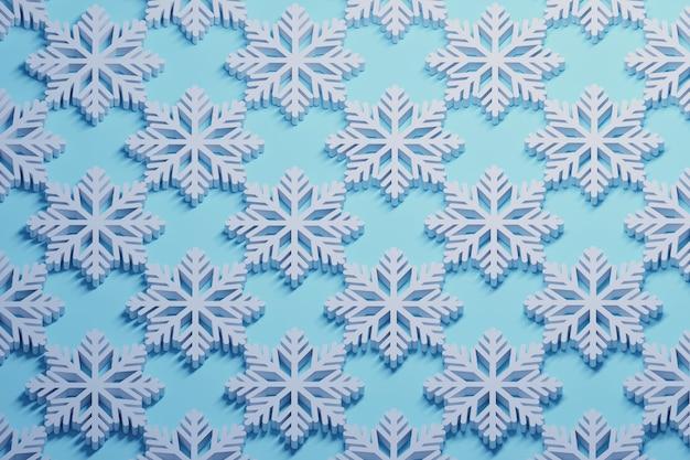 Padrão com repetição de grandes flocos de neve brancos dispostos ordenadamente no azul