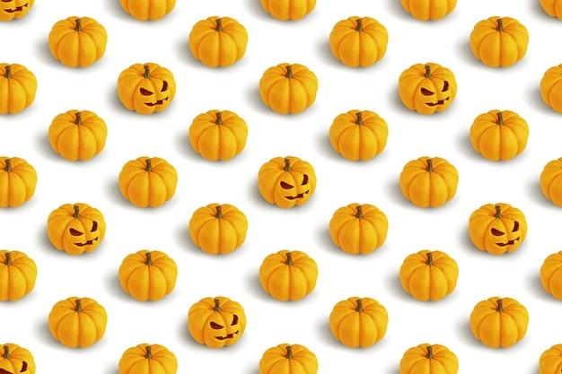 Padrão criativo com abóboras de halloween em renderização 3d branca.
