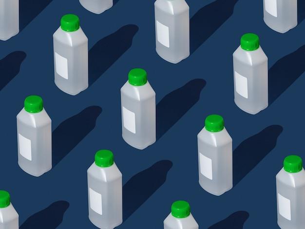 Padrão criativo de garrafa grande de desinfetante com rótulo branco em branco