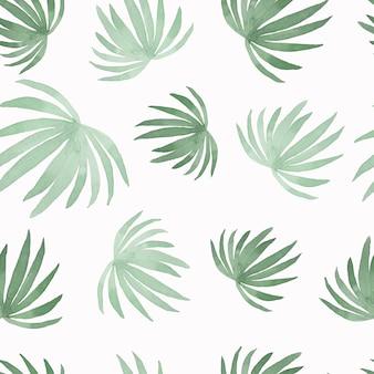 Padrão de aguarela de pintura folha de palmeira de coco