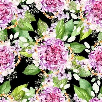 Padrão de aquarela colorido com flores de hortênsia, plantas e folhas. ilustração
