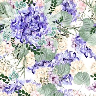 Padrão de aquarela colorido com flores de hortênsia, rosa, suculentas e folhas. ilustração
