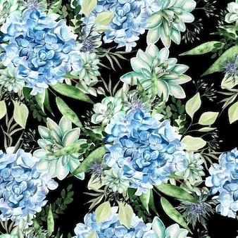Padrão de aquarela colorido com flores de hortênsia, suculentas e folhas. ilustração
