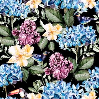 Padrão de aquarela colorido com flores, hortênsias, alstroemeria, íris e pássaros. ilustração