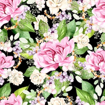 Padrão de aquarela colorido com flores peônia, plantas e folhas. ilustração