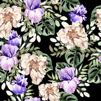 Padrão de aquarela com flores de peônia e íris, folhas tropicais. ilustração