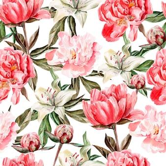 Padrão de aquarela com flores, peônias e lírios, botões e pétalas. ilustração