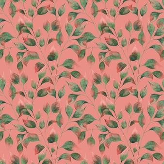 Padrão de aquarela com folhas de outono ramos verdes folhas com pontas vermelhas em um fundo rosa