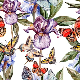 Padrão de aquarela com lindas borboletas e flores íris. ilustração