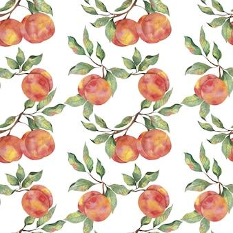 Padrão de aquarela com pêssegos maduros de frutas com galhos de folhas em um fundo branco.
