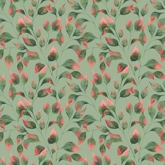Padrão de aquarela com ramos de folhas de outono folhas verdes com pontas vermelhas sobre fundo verde-oliva