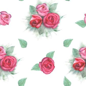 Padrão de aquarela com rosas em fundo branco