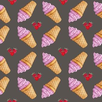 Padrão de aquarela com sorvete de framboesa