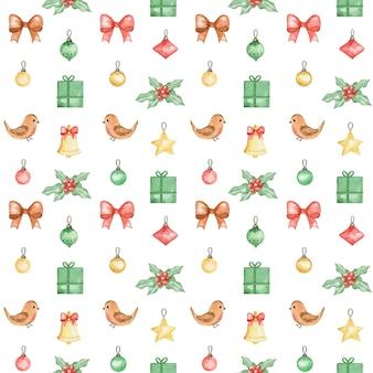 Padrão de aquarela de ano novo 2021, fundo de feliz natal, padrão de natal pintado à mão, design de padrão têxtil de inverno, pássaro de inverno, presente, poinsétia, design de padrão de natal