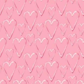 Padrão de aquarela de corações rosa em fundo rosa