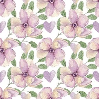 Padrão de aquarela de flores e corações