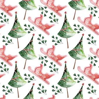 Padrão de aquarela decoração de férias de natal