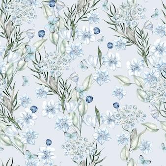 Padrão de aquarela flores azul claro em fundo branco