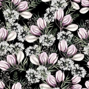 Padrão de aquarela flores rosa claro em fundo preto