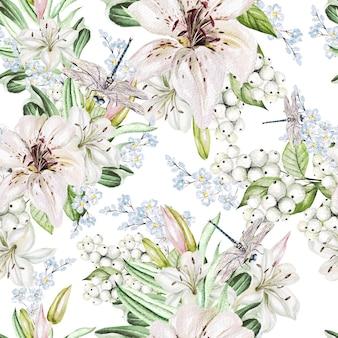 Padrão de aquarela romântico com flores, lírios e bagas
